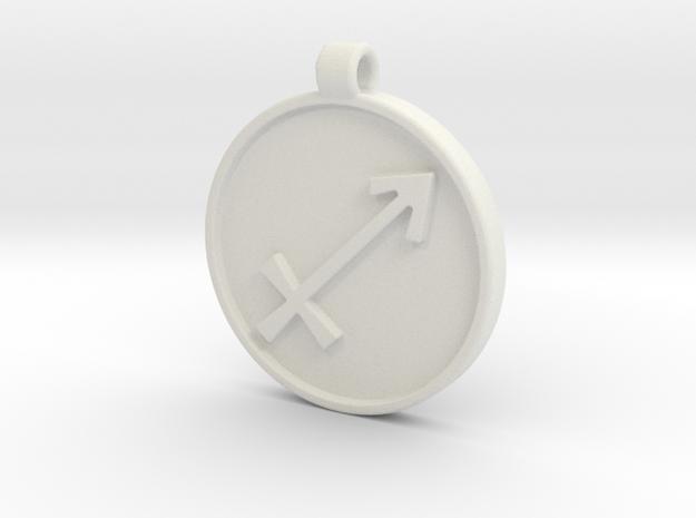 Zodiac KeyChain Medallion-SAGITTARIUS in White Natural Versatile Plastic