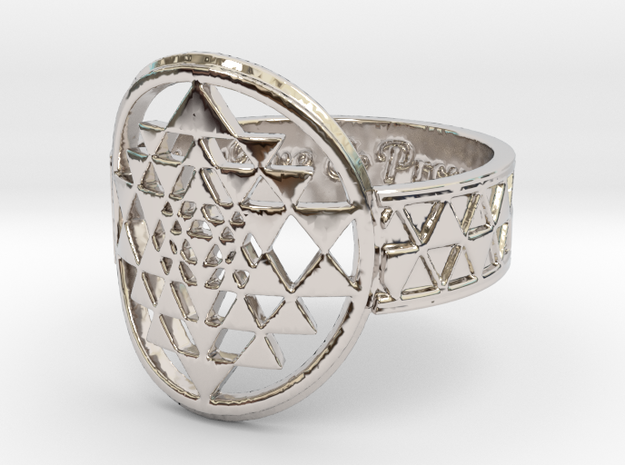 Sri Yantra Music, Love & Prosperity Ring Size 8 in Rhodium Plated Brass