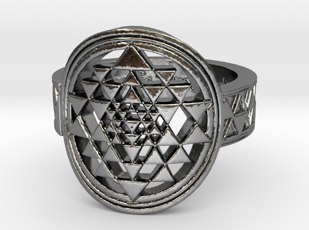 New Design Sri Yantra Ring Size 9 in Polished Silver