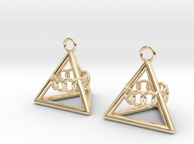 Pyramid triangle earrings serie 3 type 6 in 14k Gold Plated Brass