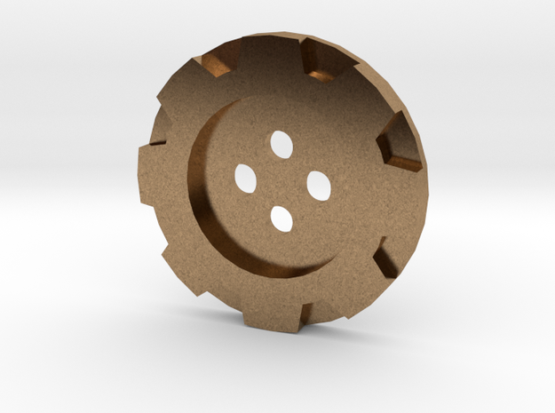 Steampunk Simple Gear Jacket Button (32 Lignes) in Natural Brass