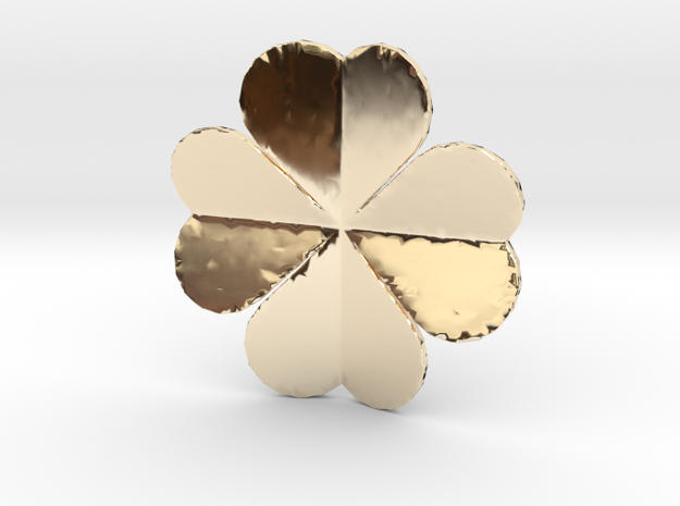 Lucky Heart Clover Pendant in 14K Yellow Gold