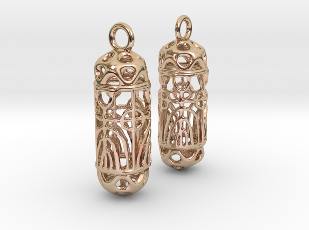 FitzLogo Filigree Earrings in 14k Rose Gold Plated