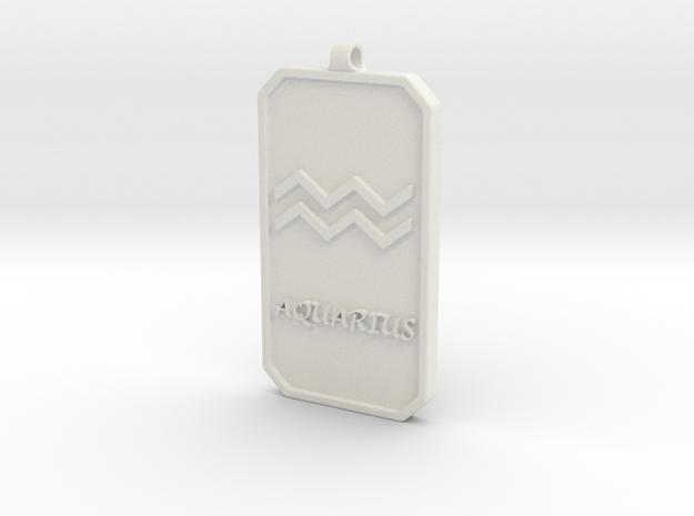 Zodiac Dogtag/KeyChain-AQUARIUS in White Natural Versatile Plastic