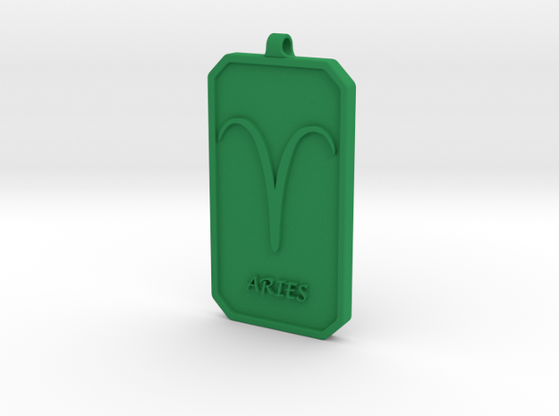 Zodiac Dogtag/KeyChain-ARIES in Green Processed Versatile Plastic