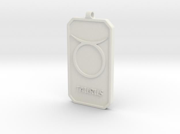 Zodiac Dogtag/KeyChain-TAURUS in White Natural Versatile Plastic