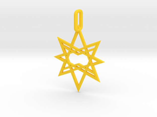 Double Octagon Star Pendant in Yellow Processed Versatile Plastic