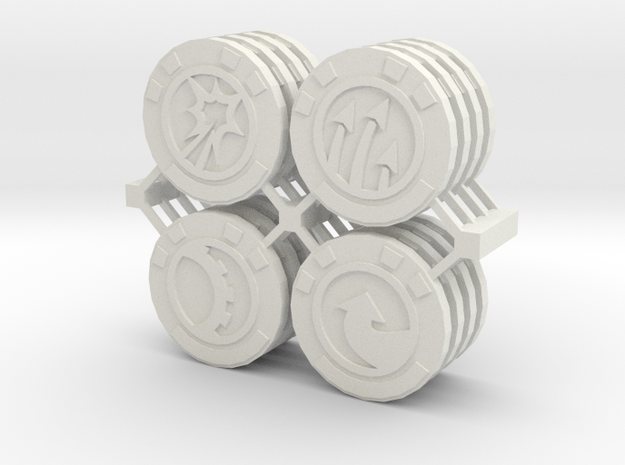 Star Wars Armada Command Tokens in White Natural Versatile Plastic