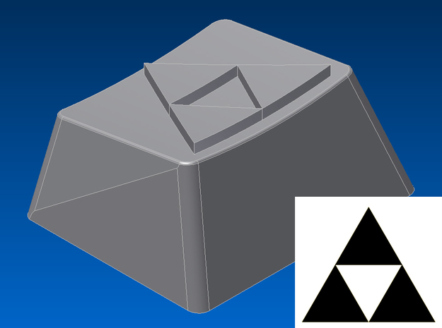 Legend of Zelda - Triforce Keycap (R1, 1.25x) in White Natural Versatile Plastic