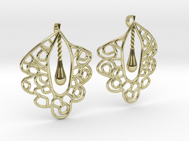 Granada Earrings (Curved Shape). in 18k Gold Plated Brass