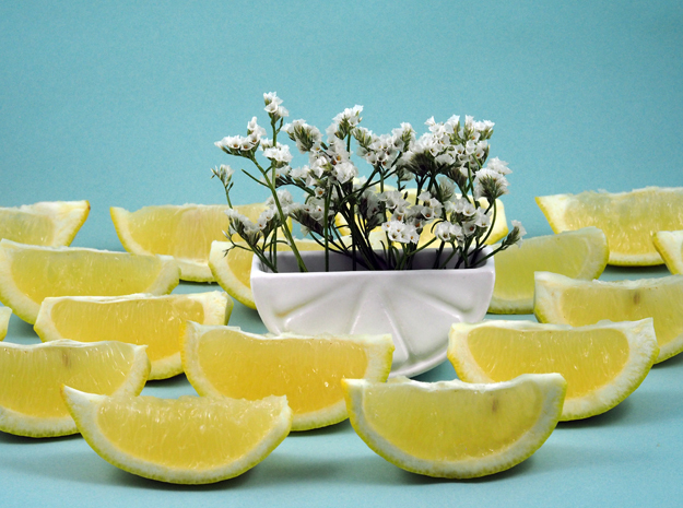 Lemon Wedge Container in Gloss White Porcelain