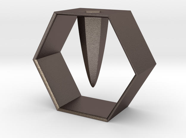 HEXAGON pen holder in Polished Bronzed Silver Steel