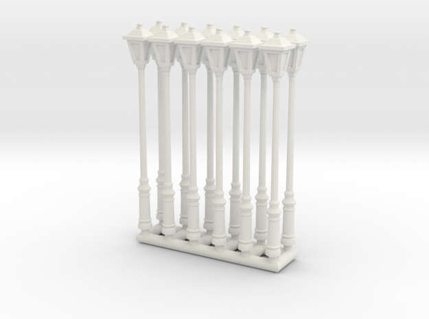 Street lamp 01. 1:64 Scale in White Strong & Flexible