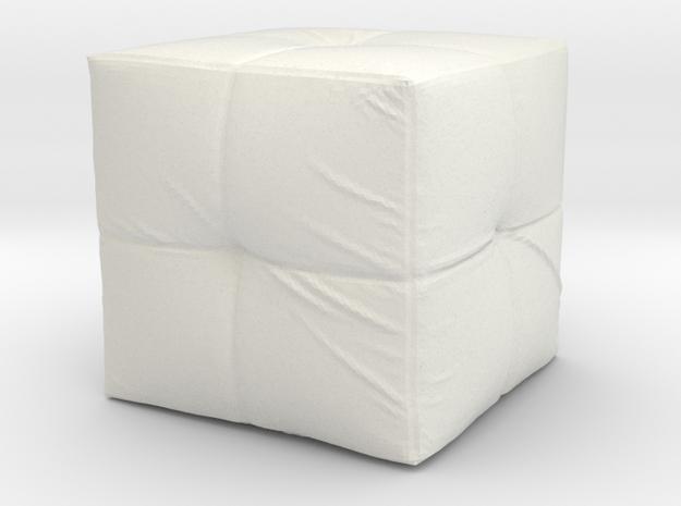 Pouf Single Tuft in White Natural Versatile Plastic: 1:48