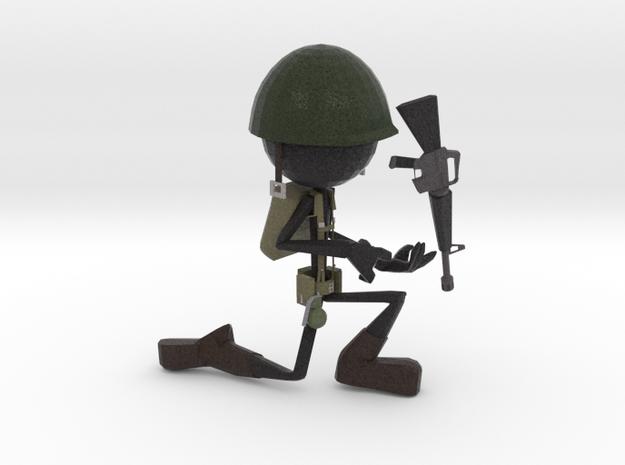 Stickman Soldier in Full Color Sandstone