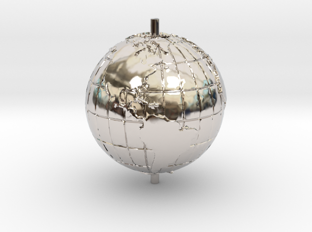 "World 1.25"" (Globe) in Rhodium Plated Brass"