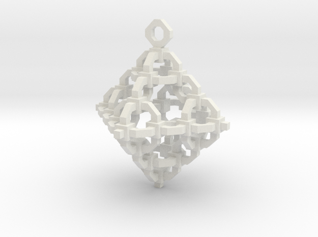 Diamond Cage Pendant in White Natural Versatile Plastic