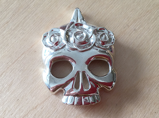 BlakOpal Skull with Rose Crown Charm in Polished Silver