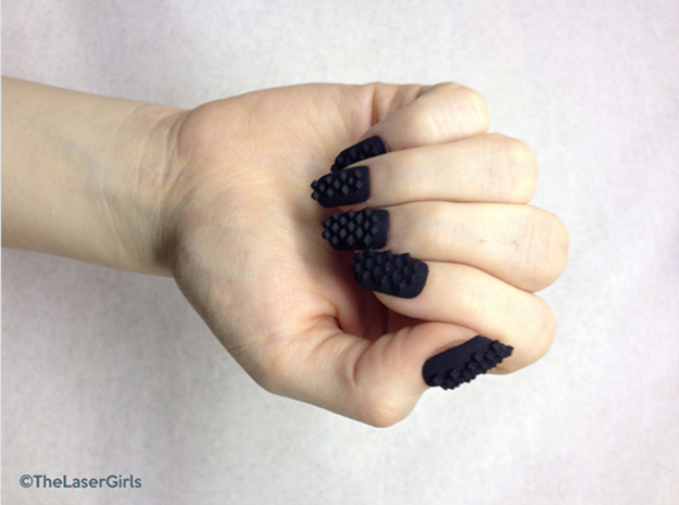 Cube Nails (Size 2) 3d printed Black Strong and Flexible