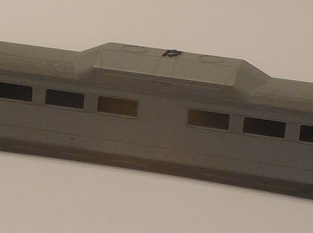 N Scale 'Roger Williams' RDC End Cab Shell in Black Hi-Def Acrylate