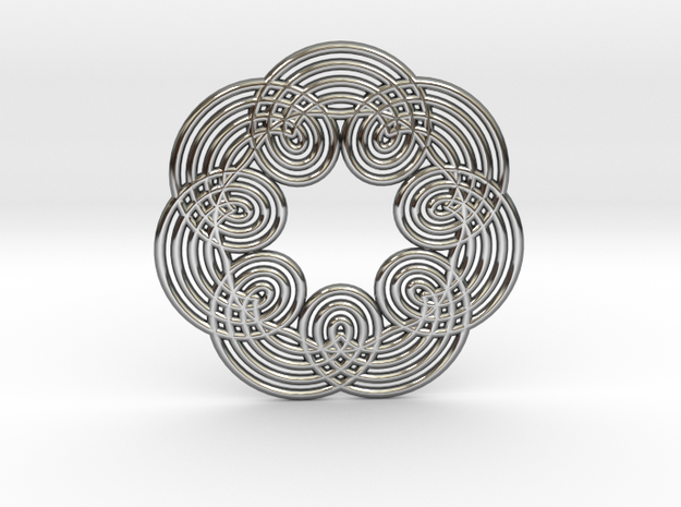 0535 Motion Of Points Around Circle (5cm) #012 in Premium Silver