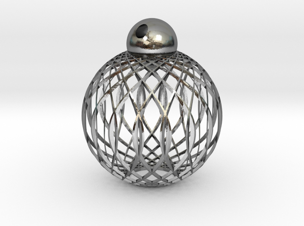 Radials Pendant in Polished Silver