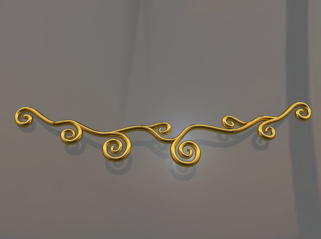 Curly Necklace 3d printed Curly Necklace (Gold)