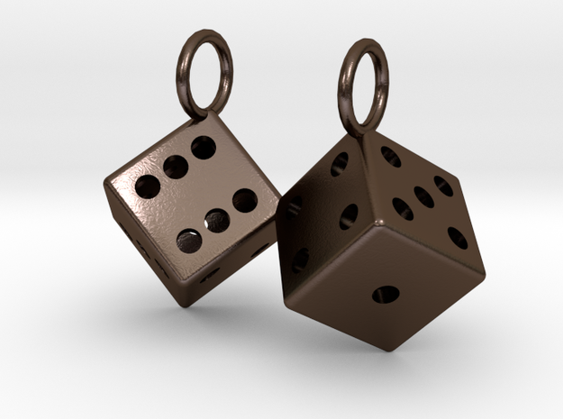 Charm: 2 Dice in Polished Bronze Steel
