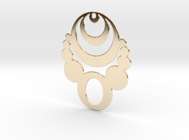 Crop Circle Statement Pendant in 14k Gold Plated Brass