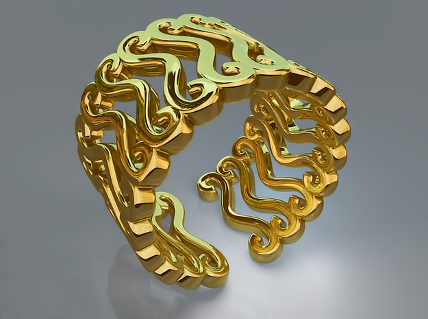 Curly ring in Polished Brass