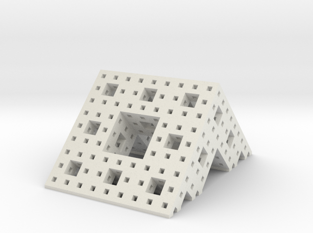 Menger roof (3 iterations), small in White Natural Versatile Plastic