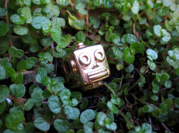 Reversible retro robot head pendant in 14k Rose Gold Plated Brass