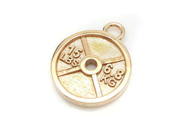 15lb Weight Plate Charm in Polished Bronze