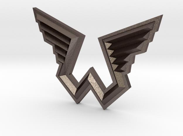 Wings Logo Pendant in Polished Bronzed Silver Steel