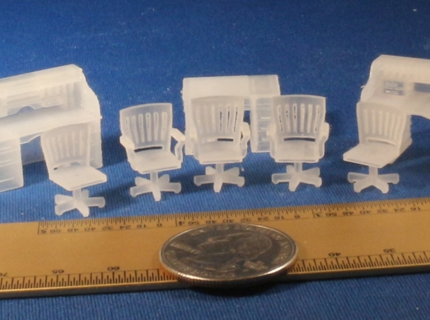 Rolltop desks and Chairs S Scale in Smooth Fine Detail Plastic