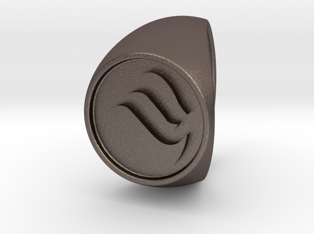 Custom Signet Ring 28 in Polished Bronzed Silver Steel