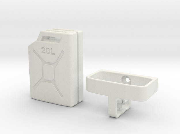 1/10 Scale 20 litre Jerry Can + mount in White Natural Versatile Plastic
