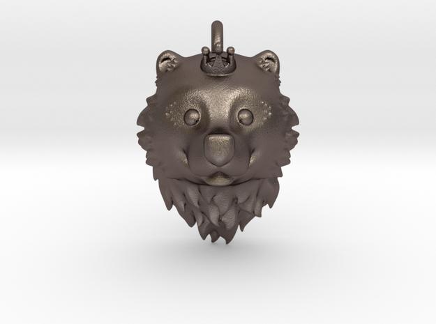 Bear Queen Pendant in Polished Bronzed Silver Steel