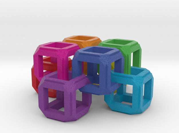 Circle Fixed Link Chain Rainbow Cube in Full Color Sandstone