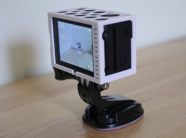 "GoPro Hero3 ""Touch'n'Batt"" Frame'ish (Frame) 3d printed Leaves room for use of the audio output and play button on the Touch"
