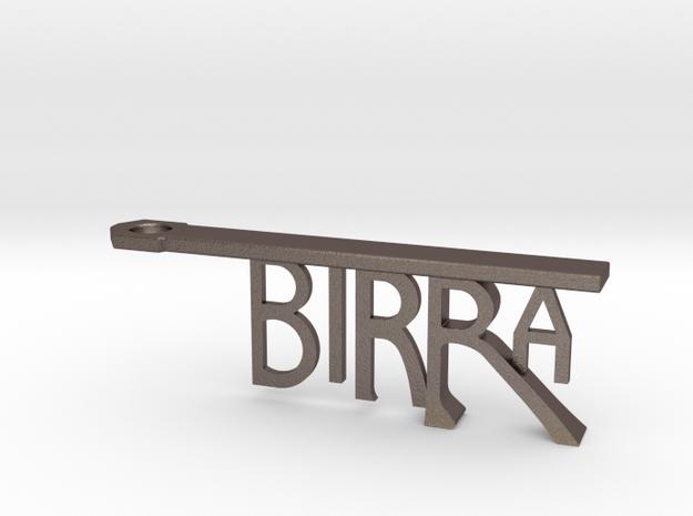 BIRRA Bottle Opener Keychain in Polished Bronzed Silver Steel