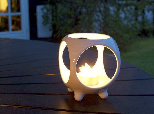 Open Sphere Tea Light in Gloss White Porcelain