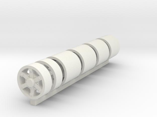1/50 6 Spoke Dayton 22.5 Wheels in White Natural Versatile Plastic