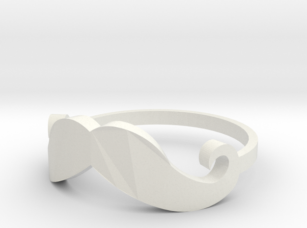 Mustache Ring size 6 in White Strong & Flexible