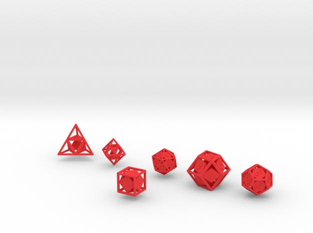 """Open"" dice set: 6 dice! 3d printed"