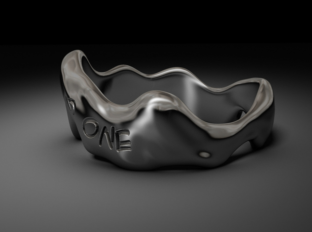 """""""Trust No One"""" Liquid Ring (Size 10) 3d printed CG Rendering"""