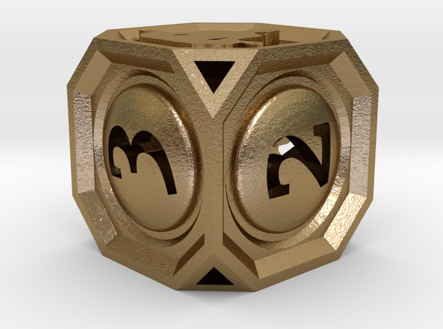 MetaGameGurus D6 14mm v01 in Polished Gold Steel