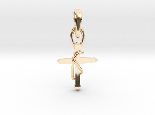 Cross Knot Pendant in 14K Yellow Gold