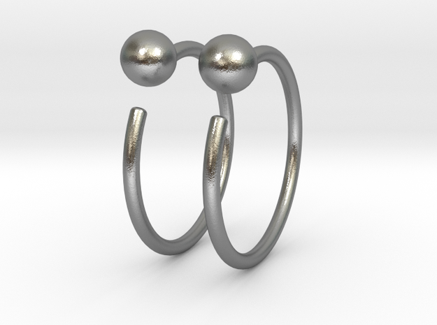 Small Ball Stud Hoops in Natural Silver