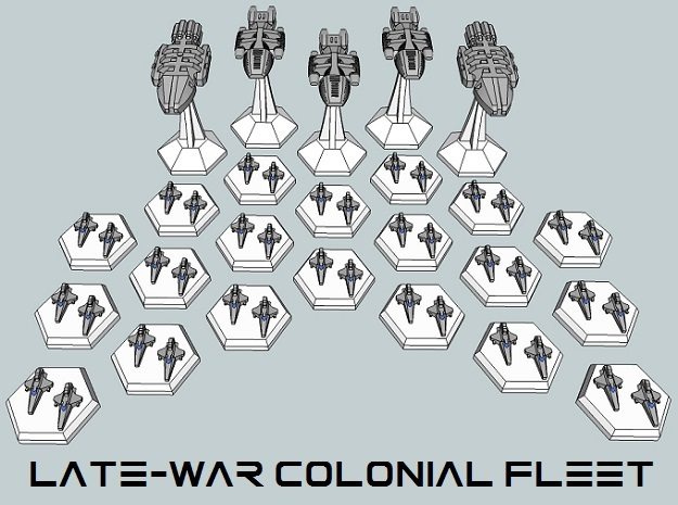 MicroFleet BSG Late-War Colonial Fleet (25pcs) in White Acrylic